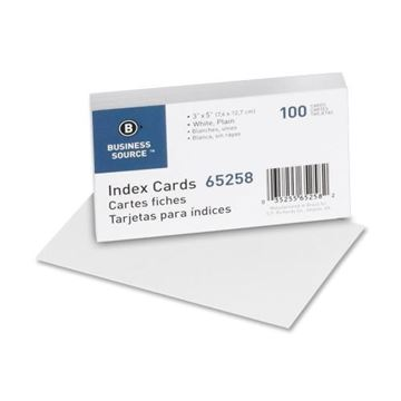 Picture of Index Cards White Plain 3x5 100/Pk