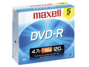 Picture of Maxell DVDR 4.7GB 16X 5pk. Jewel case